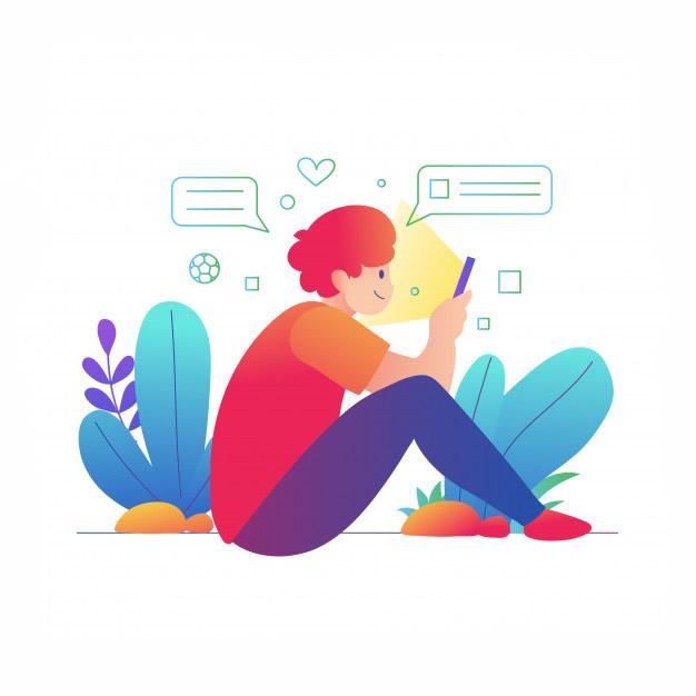 Rapaz ruivo sentado mexendo no celular com ícones ao arredor da sua cabeça e caixinhas de mensagem. Ele veste uma camiseta vermelha e laranja com uma calça azul. Há plantas de fundo.
