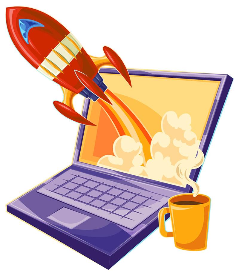 Um foguete vermelho saindo da tela de um notebook, deixando um rastro de fogo e fumaça.